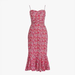 J CREW LIBERTY Ruffle Hem Midi Dress Berry Floral